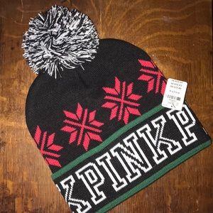 Victoria's Secret PINK knit beanie hat NWT